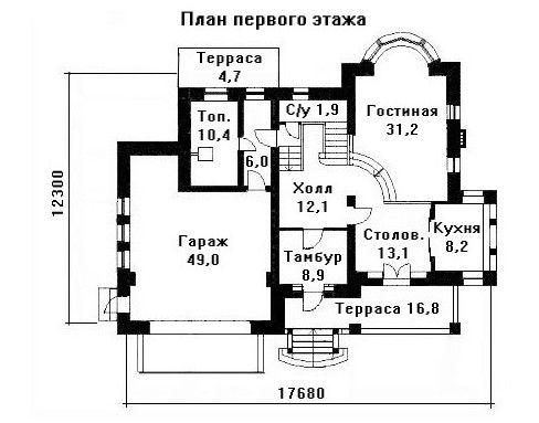 Дом 17,68×12,3 м. с четырехскатной крышей
