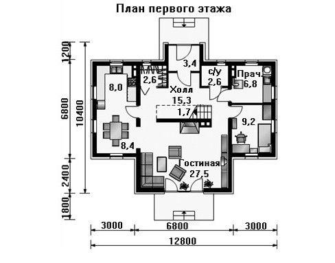 Дом 12,8×10,4 м. с двускатной крышей