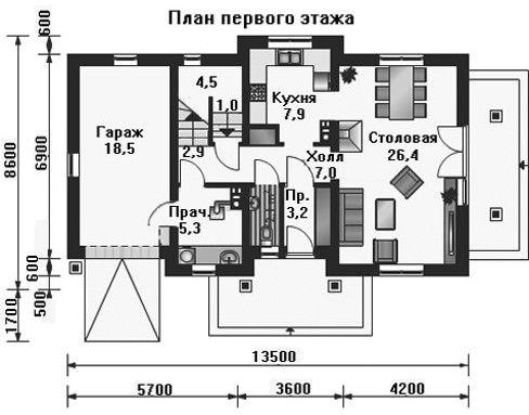 Проект дома 13,5×8,6 м. с двускатной крышей
