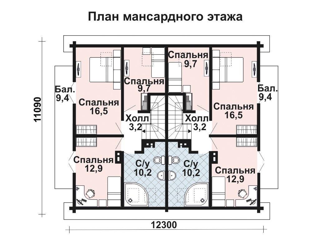 Проект дома 13.9 м х 12.55 м с двускатной крышей