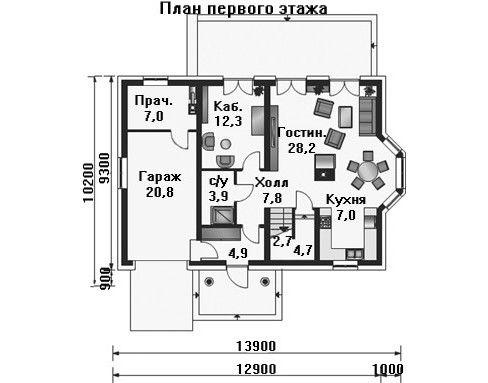 Дом 13,9×9,3 м. с двускатной крышей