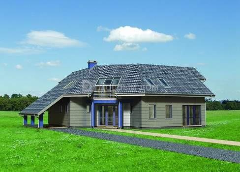Дом 15,9×15,7 м. с мансардной крышей