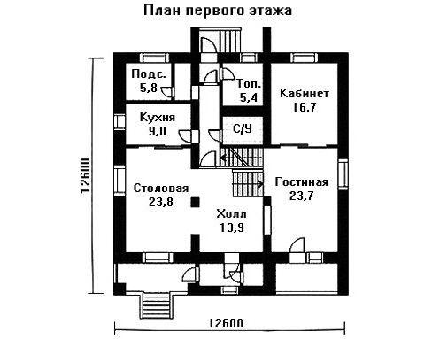 Проект дома 12,6×12,6 м. с мансардной крышей