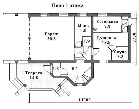 Проект дома 13,5×6,7 м. с мансардной крышей