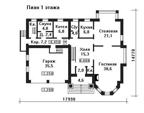 Проект дома 17,9×14,7 м. с мансардной крышей