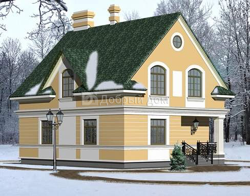 Дом 10,12×9,8 м. с двускатной крышей