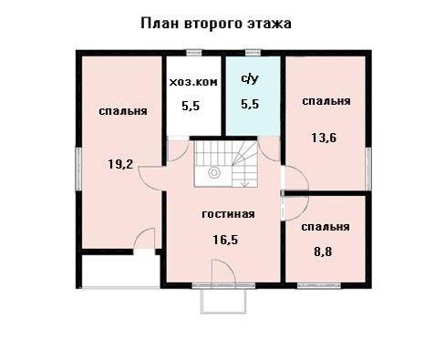 Дом 10,2×8,2 м. с двускатной крышей