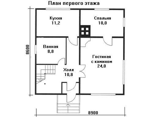 Проект дома 8,9×8,6 м. с двускатной крышей