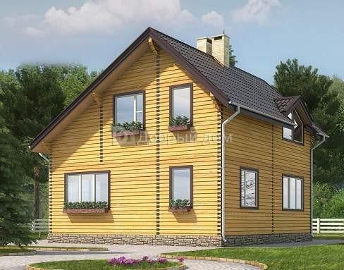 Проект дома 8.9 м х 8.6 м с двускатной крышей