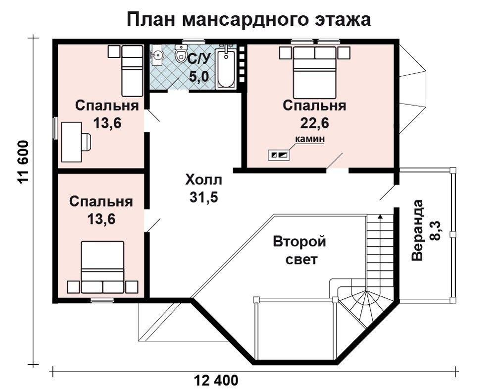 Проект дома 12.4 м х 9.4 м с мансардной крышей