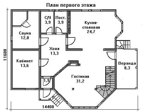 Проект дома 12,4×11,6 м. с мансардной крышей