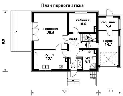 Проект дома 13,1×8,9 м. с мансардной крышей