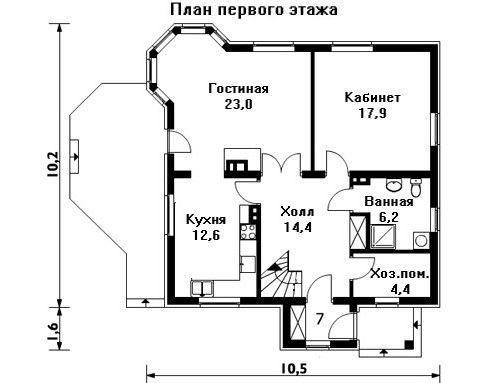 Дом 11,8×10,5 м. с двускатной крышей
