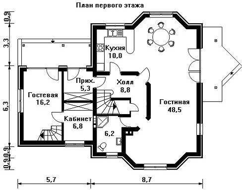 Дом 14,4×12,3 м. с мансардной крышей