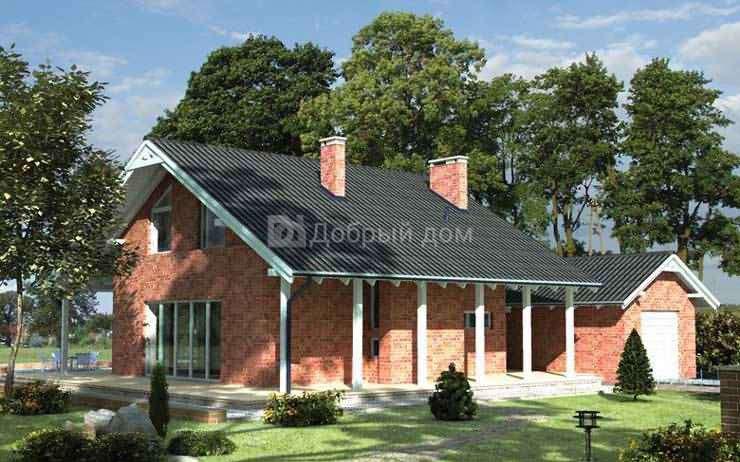 Дом 9,7×9,6 м. с двускатной крышей