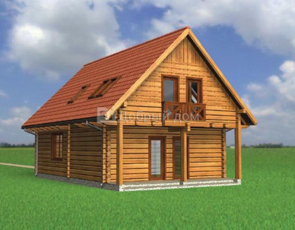 Проект дома 10.6 м х 7.4 м с двускатной крышей