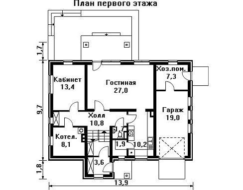 Проект дома 13,9×11,5 м. с двускатной крышей
