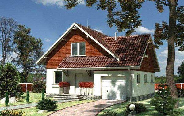 Дом 12,8×10,7 м. с двускатной крышей
