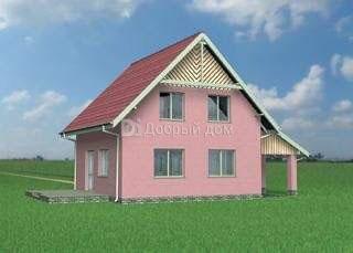 Дом 8,2×8,2 м. с двускатной крышей