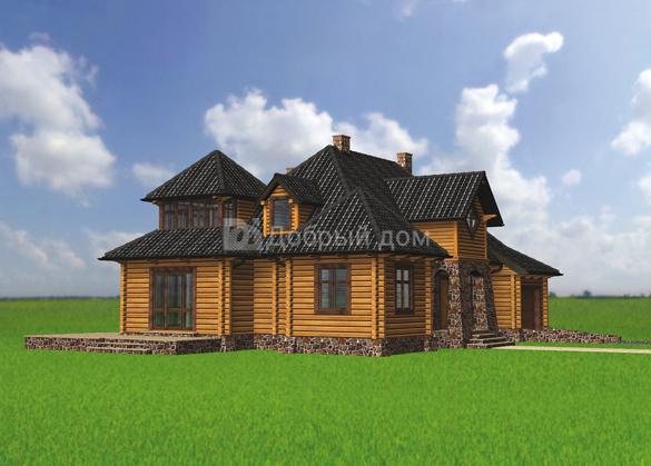 Проект дома 17.3 м х 11.6 м с мансардной крышей
