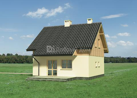 Дом 7,7×7,7 м. с двускатной крышей