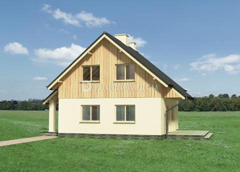 Проект дома 7,7×7,7 м. с двускатной крышей