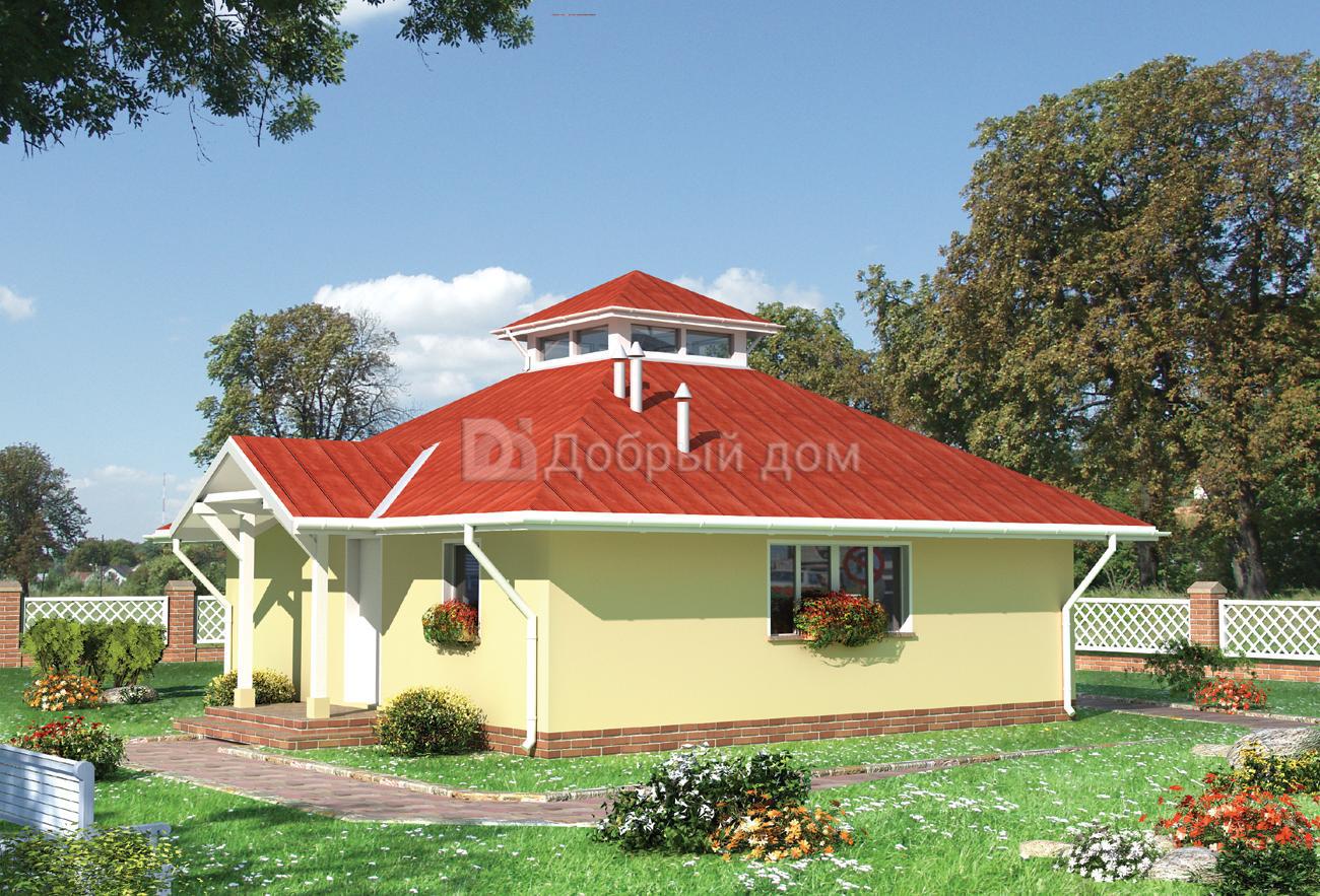 Проект дома 8,6×8,6 м. с четырехскатной крышей