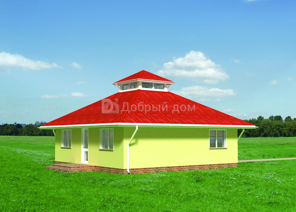 Дом 8,6×8,6 м. с четырехскатной крышей