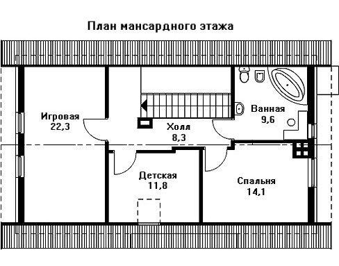 Проект дома 12,5×8 м. с двускатной крышей