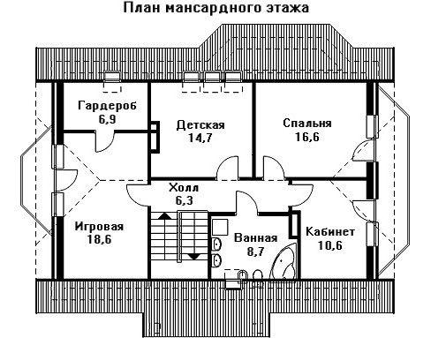Проект дома 12,3×9,9 м. с мансардной крышей