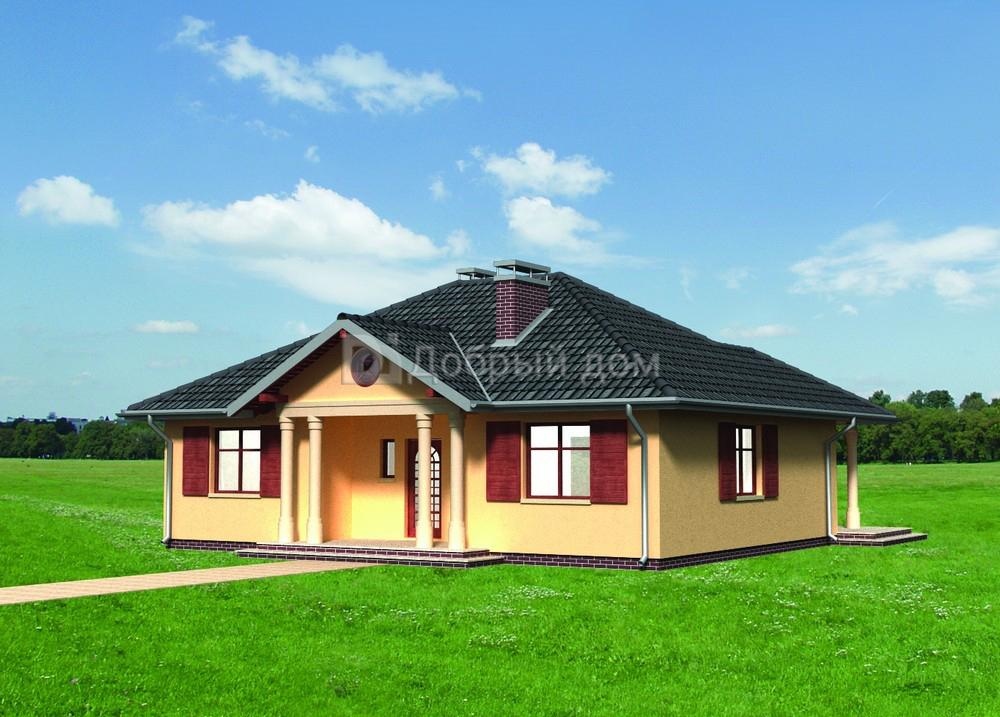 Дом 12,2×11,6 м. с четырехскатной крышей