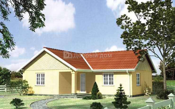 Проект дома 12,8×12,5 м. с двускатной крышей