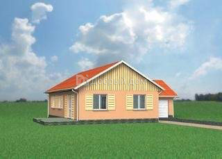 Дом 13,7×13,4 м. с двускатной крышей