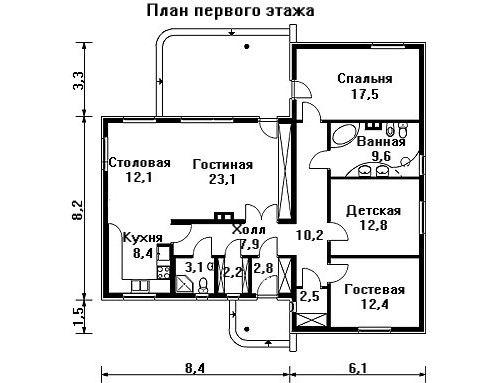 Проект дома 14,5×13 м. с четырехскатной крышей