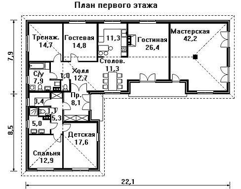 Дом 22,1×16,4 м. с четырехскатной крышей