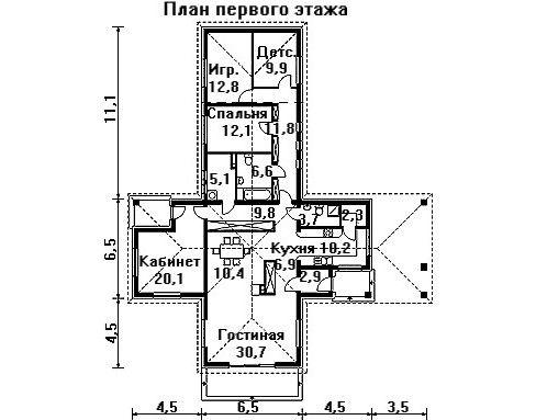 Проект дома 22,1×19 м. с четырехскатной крышей