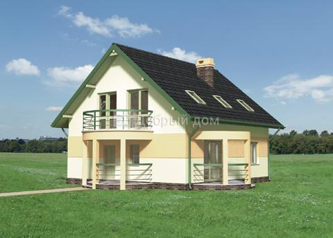 Дом 10,5×10,2 м. с двускатной крышей